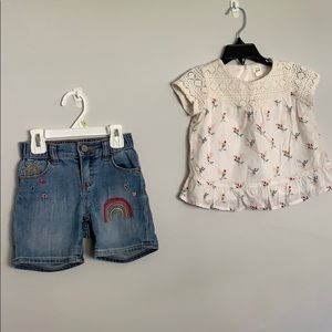 Baby Gap girls short and shirt set